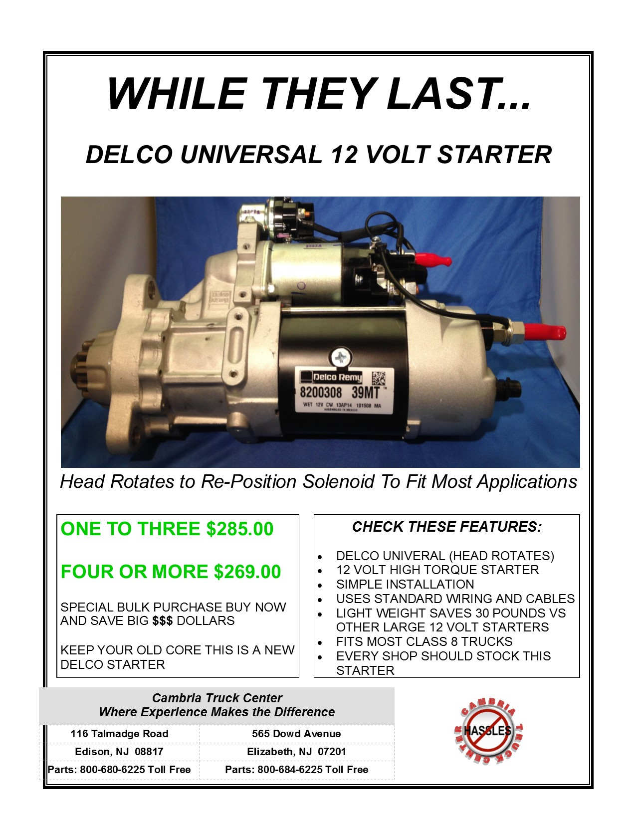 While They Last Cambria Truck Center Edison New Jersey Mack Wiring Starter Delco Universal 12 Volt
